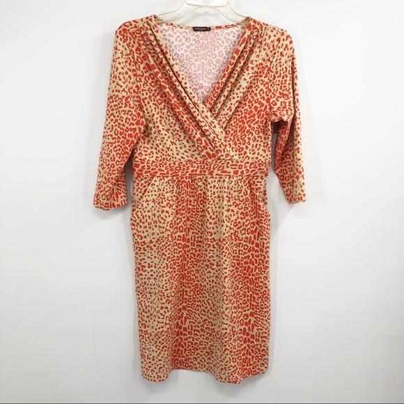 J. McLaughlin Catalina leopard faux wrap dress M